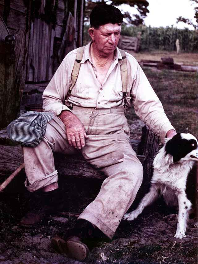 """Clarence Clay McGehee with """"Laddie"""". Photo taken in 1950's."""