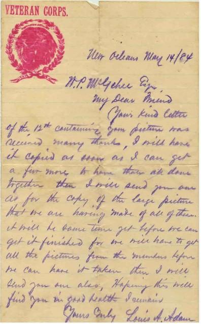 Letter to William Pelham McGehee regarding the Washington Artillery Veterans Corps.